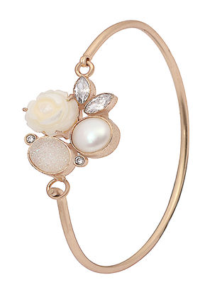 White Druzy Gold-plated Brass Pearl Bracelet