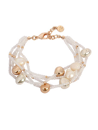 White Moonstone Gold-plated Brass Pearl Bracelet