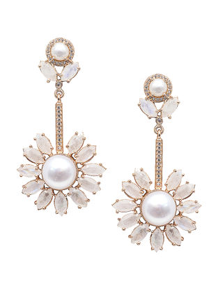 White Moonstone Gold-plated Brass Pearl Earrings