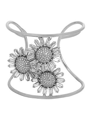 Pave Three Flower Zephyr Cuff