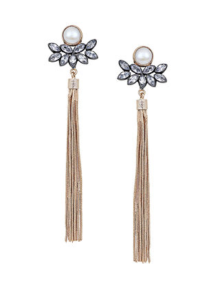 Pearl and Zirconia Carbon Tassel Earrings