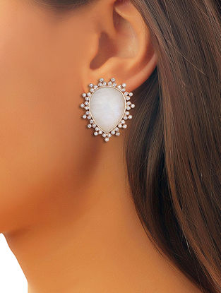 White Danica Moonstone Earrings