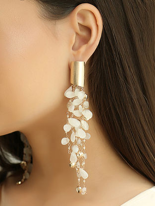 White Gold Tone Kaska Moonstone Earrings