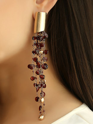 Wine Gold Tone Kaska Garnet Earrings