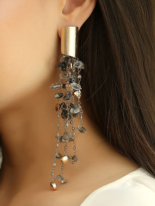 Grey Gold Tone Kaska Harkiman Diamond Quartz Earrings