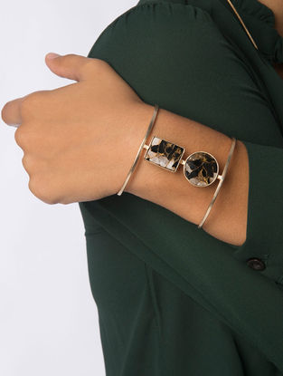 Brown Gold Plated Jasper Mojave Cuff