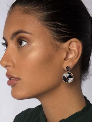 Brown Gold Plated Jasper Mojave Drop Earrings
