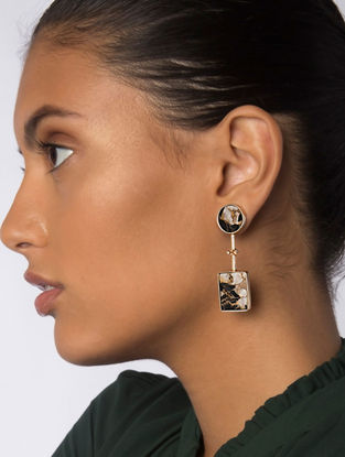 Brown Gold Plated Jasper Mojave Statement Earrings