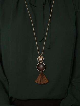 Brown Gold Plated Jasper Mojave Tassel Necklace