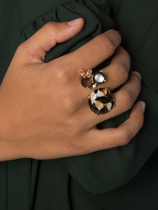 Brown Gold Plated Jasper Mojave Double Ring