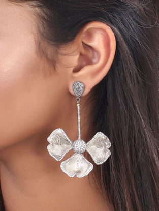 Grey Mystique Pave Statement Earrings