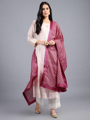 Pink Chanderi Dupatta with Zari Work