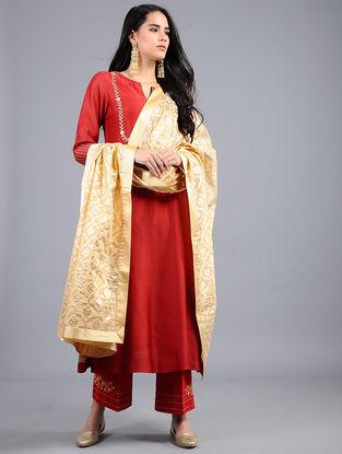 Yellow Chanderi Dupatta with Zari Work