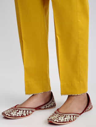 Mustard Cotton Pants with Gota Work