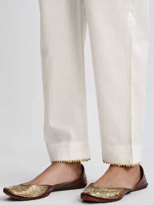 Ivory Cotton Pants with Gota Work