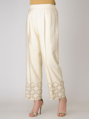 Ivory Elasticated Waist Cotton Silk Pants with Embroidered Hem