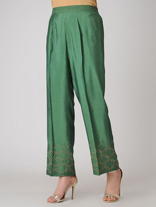 Green Elasticated Waist Cotton Silk Pants with Embroidered Hem
