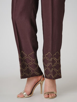 Wine Elasticated Waist Cotton Silk Pants with Embroidered Hem