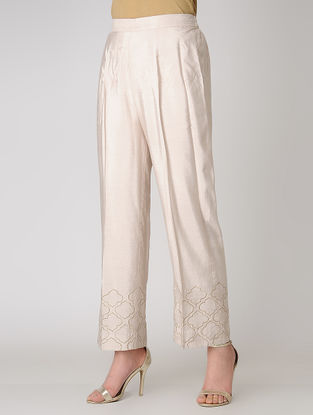 Pink Elasticated Waist Cotton Silk Pants with Embroidered Hem