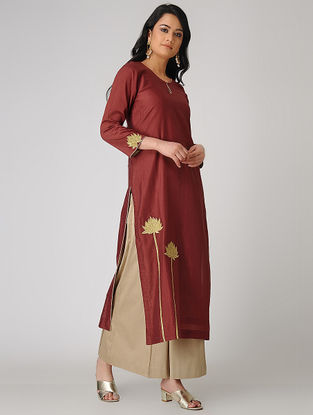 Rust Embroidered Chanderi Kurta