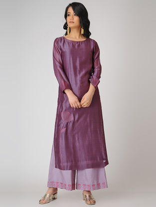 Plum Embroidered Chanderi Kurta