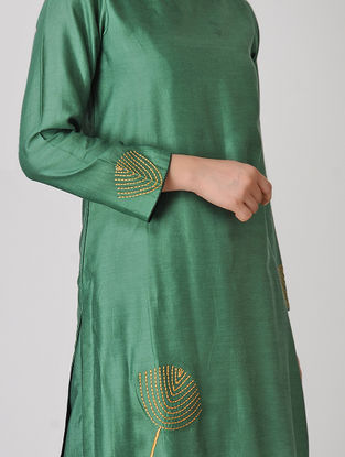 Green Embroidered Chanderi Kurta