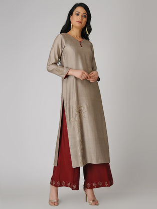 Brown Embroidered Chanderi Kurta