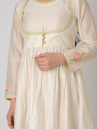 Ivory Embroidered Chanderi Anarkali Kurta