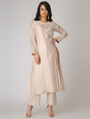 Pink Embroidered Chanderi Angrakha Kurta