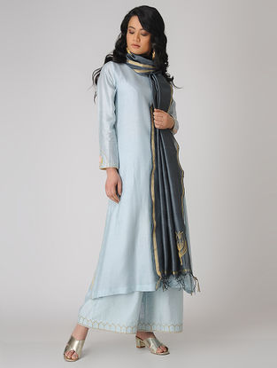 Blue Embroidered Chanderi Kurta