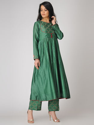 Green Embroidered Chanderi Anarkali Kurta
