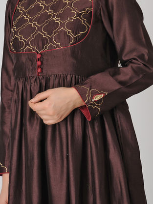 Wine Embroidered Chanderi Anarkali Kurta