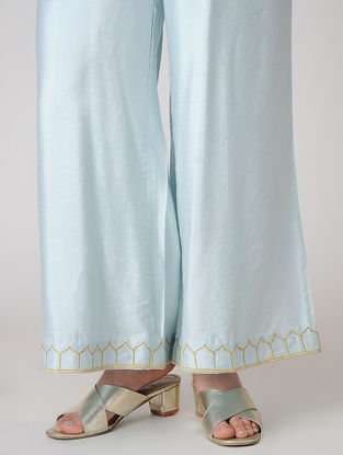 Blue Elasticated Waist Cotton Silk Palazzos with Embroidered Hem