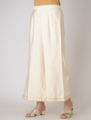 Ivory Elasticated Waist Cotton Silk Palazzos with Embroidered Hem