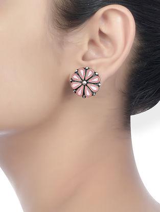 Pink Enameled Earrings with Floral Motif