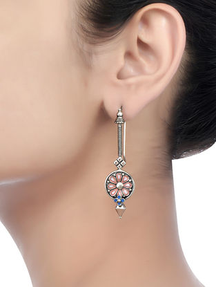 Pink-Blue Enameled Earrings with Floral Motif
