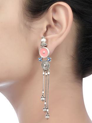 Peach-Blue Enameled Earrings with Floral Design