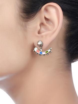 Pink-Blue Enameled Earrings