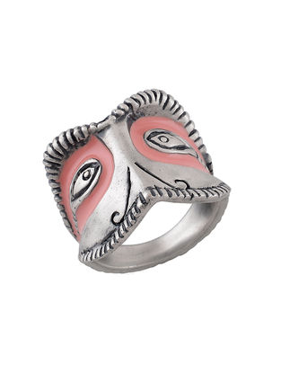 Pink Enameled Ring (Ring Size-7.6)