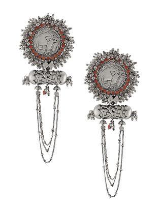 Coral Tribal Silver Earrings