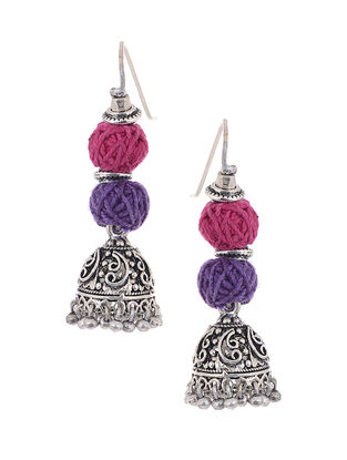Pink-Purple Silver Tone Jhumkis