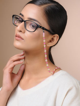 Pink-Green Handcrafted Beaded Eyewear Chain