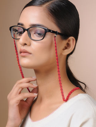 Red Handcrafted Beaded Eyewear Chain