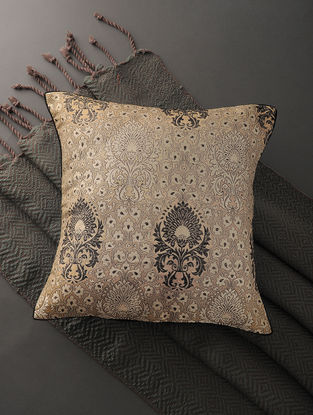 Beige-Black Silk Brocade Cushion Cover (16in x 16in)