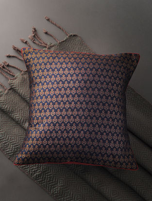 Indigo-Golden Silk Brocade Cushion Cover (16in x 16in)