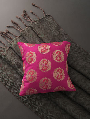 Fuchsia-Orange Silk Brocade Cushion Cover