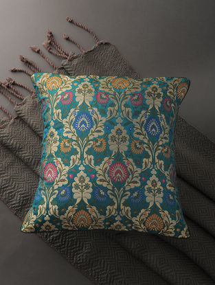 Multicolored Silk Brocade Cushion Cover (16in x 16in)