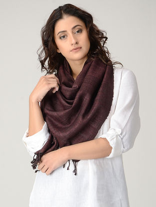 Maroon Natural-dyed Silk Wool Stole