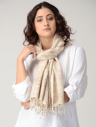 Cream Natural-dyed Silk Wool Stole