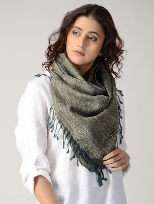 Beige-Blue Natural-dyed Silk Wool Stole